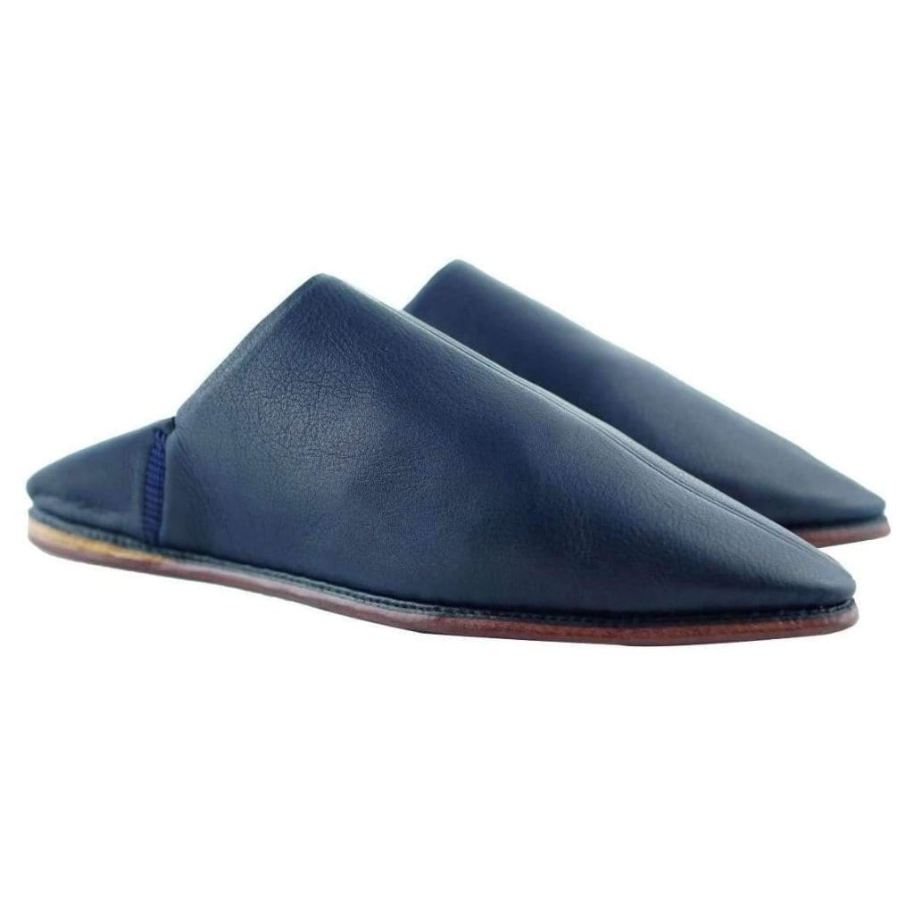 Men Moroccan Slipper in Navy Blue Leather