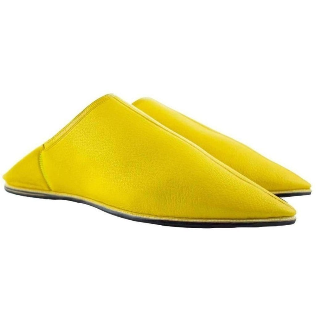 Men Leather Moroccan Slipper in Ziwani Yellow