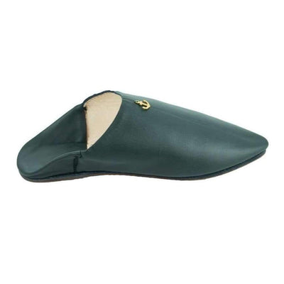 Men's Moroccan Slipper in Khaki Leather with anchor