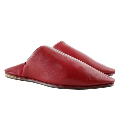 Men's Moroccan Slipper in Red Leather