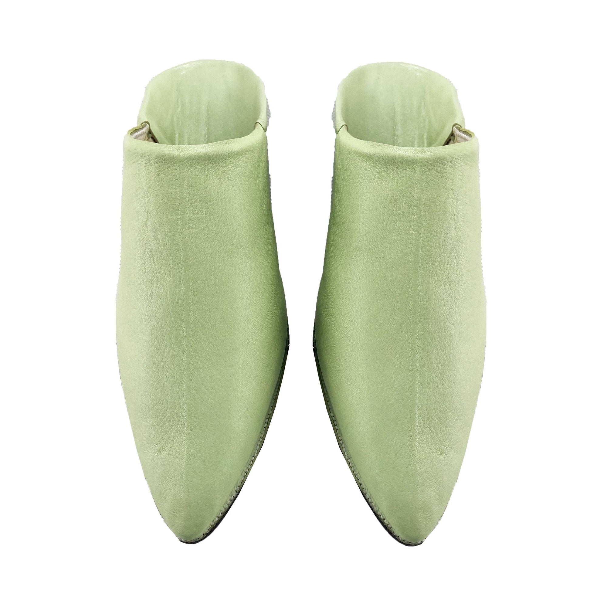 Jah Men Moroccan Slipper in Pistachio Green Leather