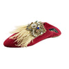 Jah Women Moroccan Slipper in Red Suede and Feathers