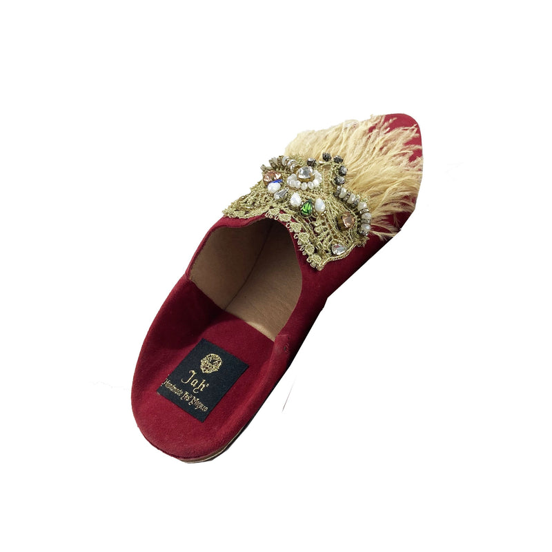 Women Moroccan Slipper in Red Suede and Feathers