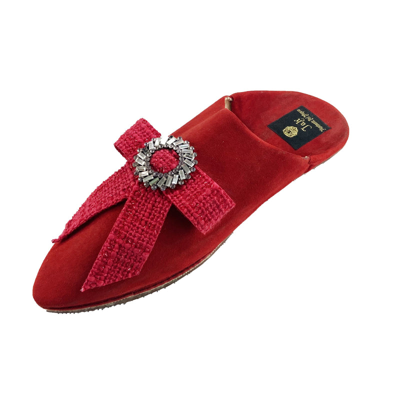 Women Moroccan Slipper in Red Suede and Red Bow