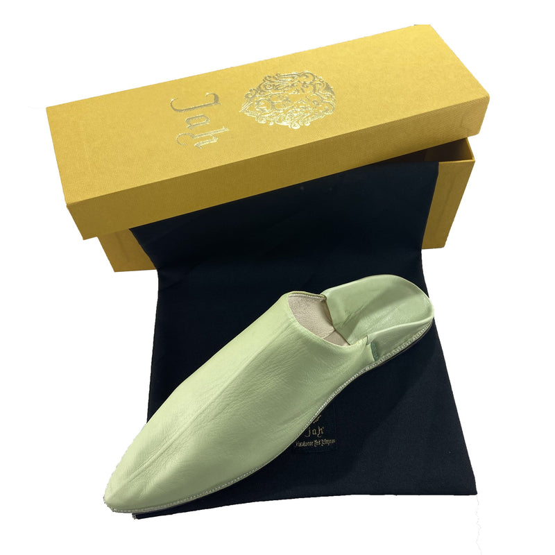 Men Moroccan Slipper in Pistachio Green Leather