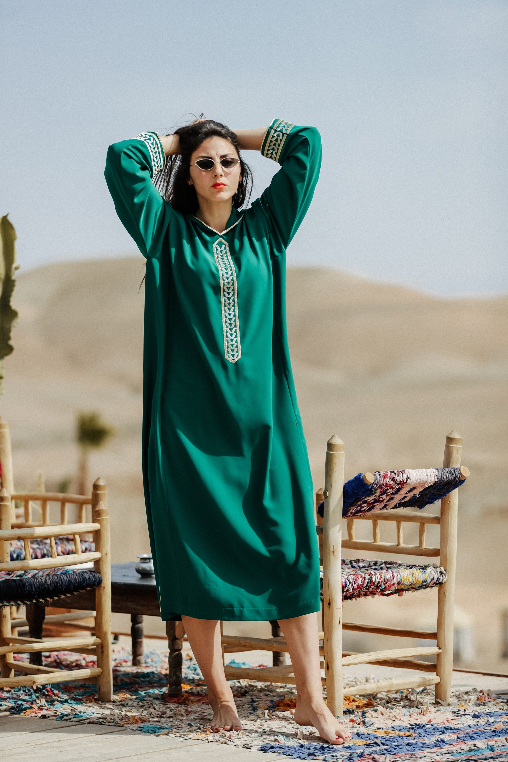 Dark Green Djellaba Moroccan Dress