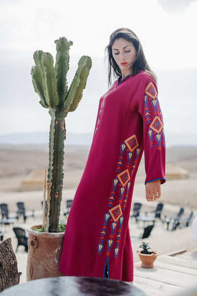 Dark Pink and Yellow Djellaba Moroccan Dress