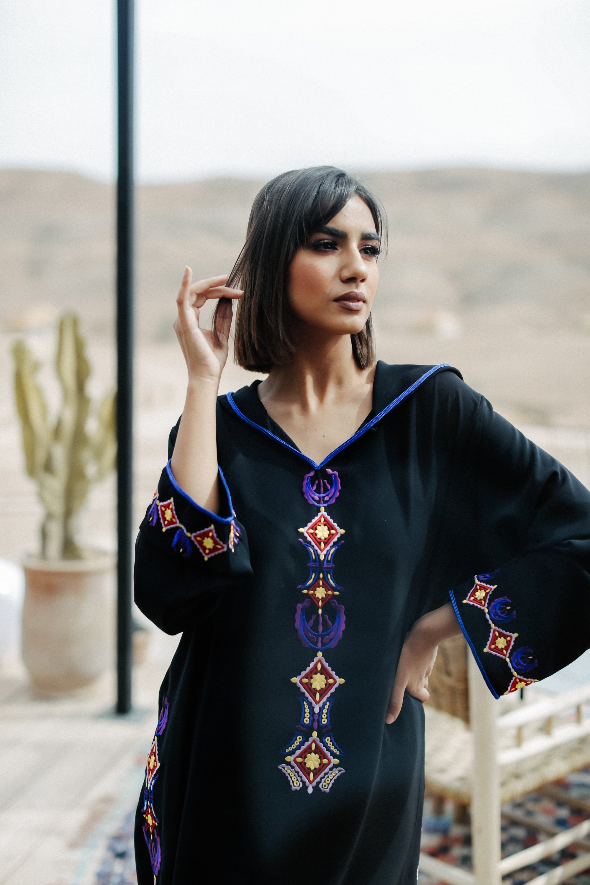 Black and Purple Djellaba Moroccan Dress