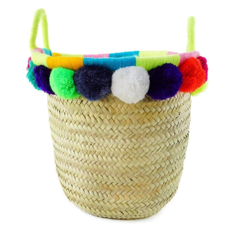 Moroccan Wicker Basket with Pompom Zira