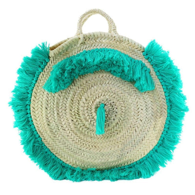 Moroccan Round Wicker Tote Bag with Green Fringes