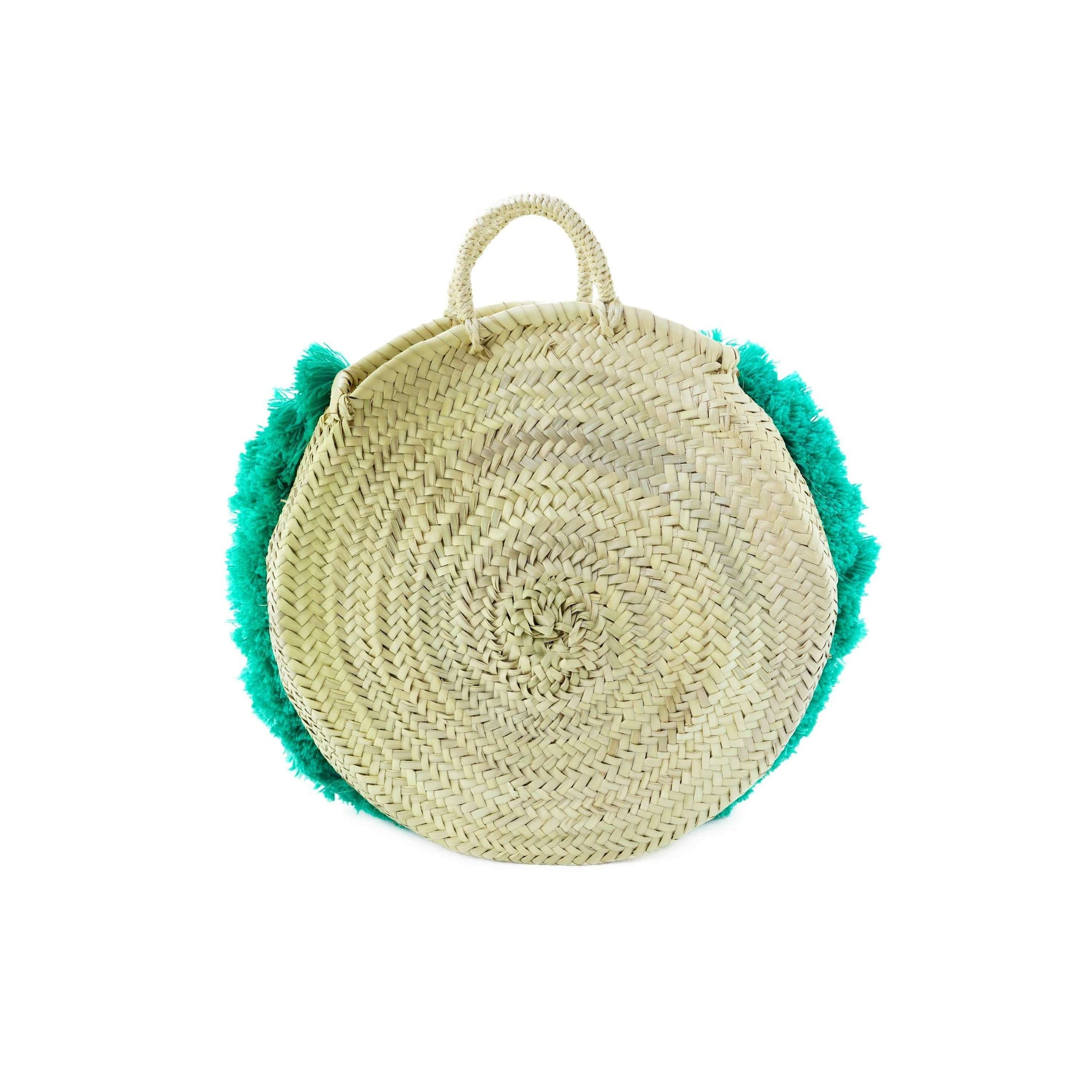 Round Wicker Basket with Green Fringes - MyTindy