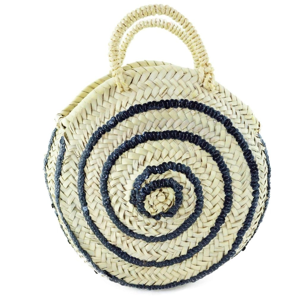 Round Wicker Basket with Black Pearls