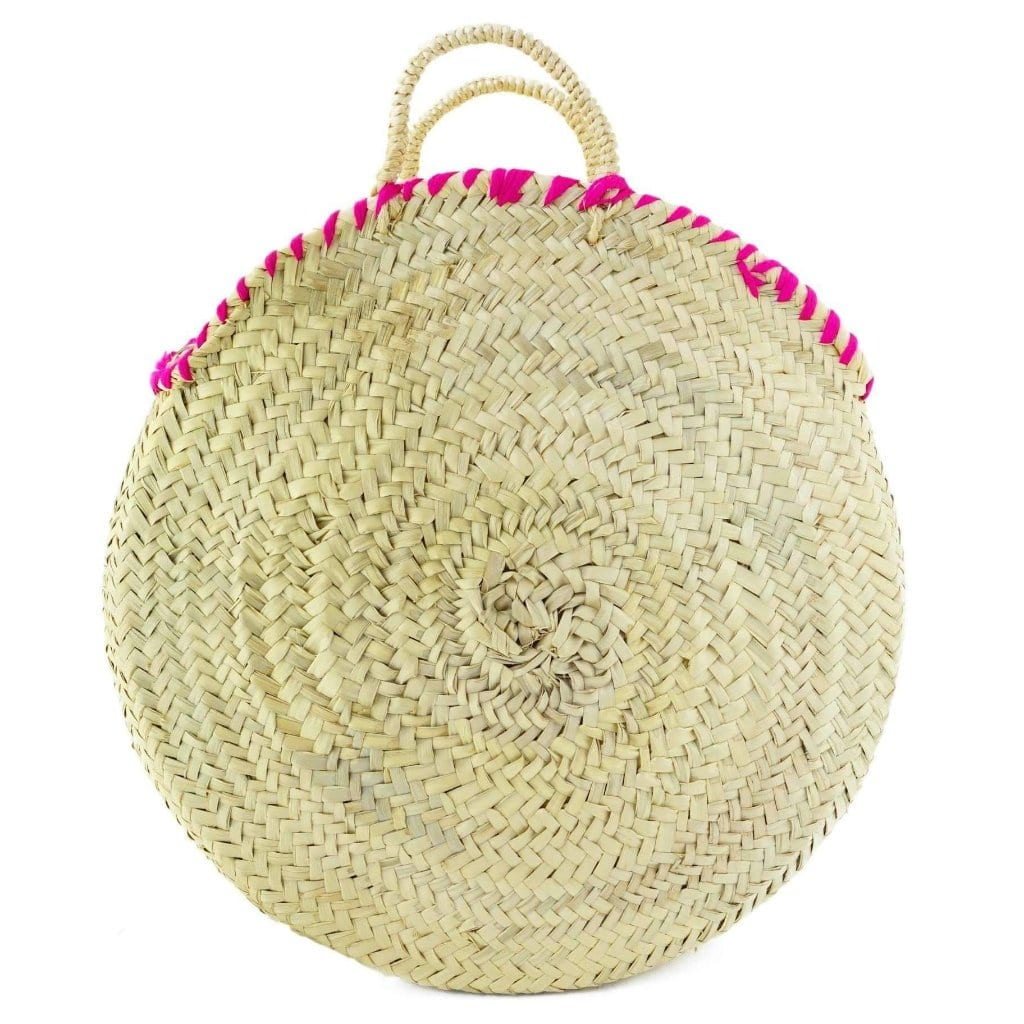 Moroccan Round Wicker Tote Bag with Pompom