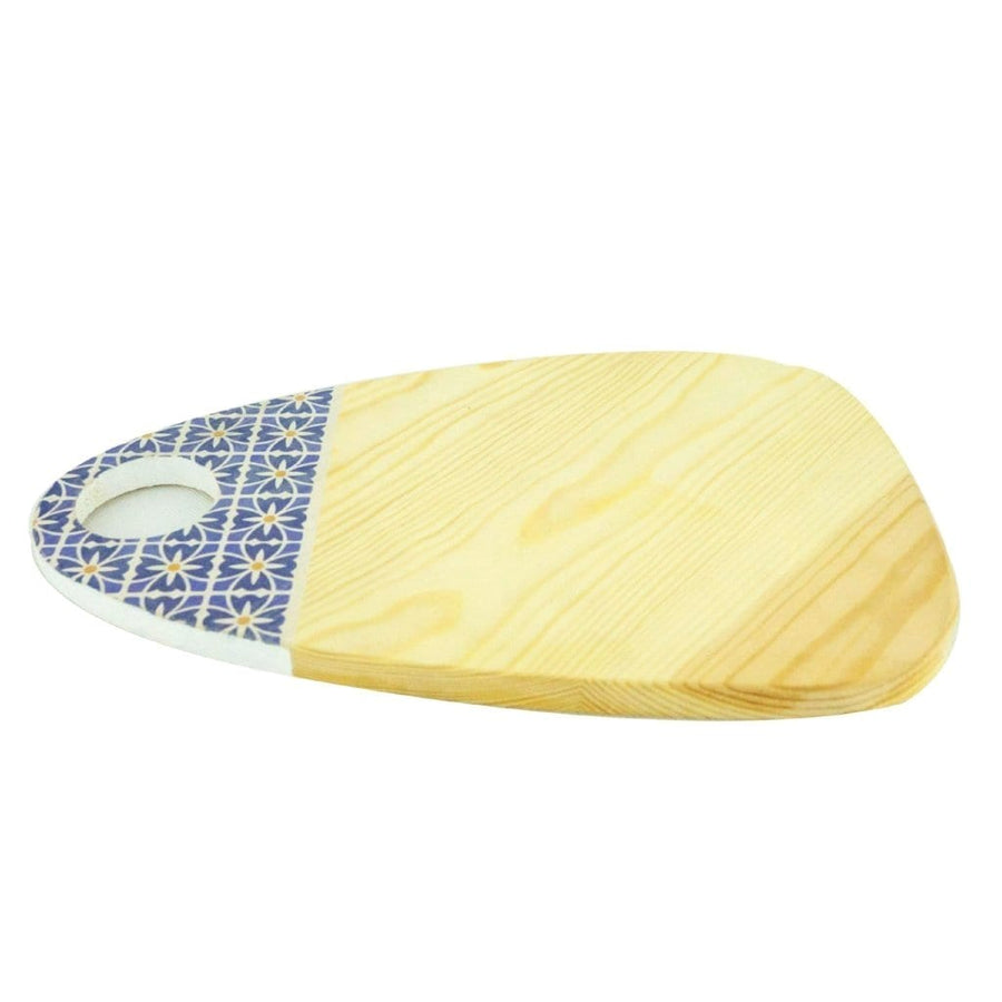 Red Wood Oval Cheese Board with Arabic Patterns
