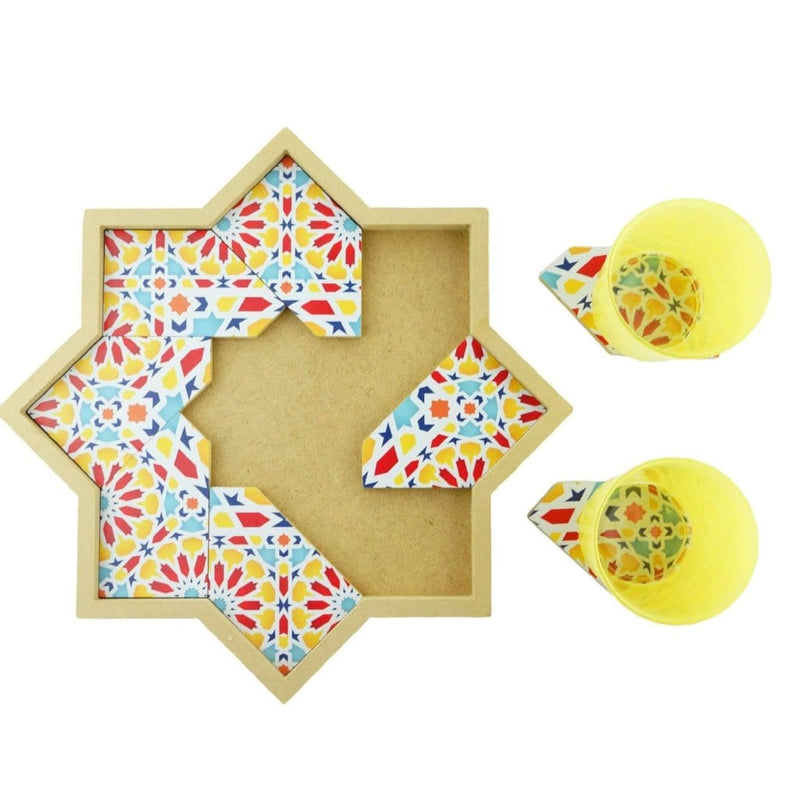 Coaster Tray with Moroccan Zellige Pattern