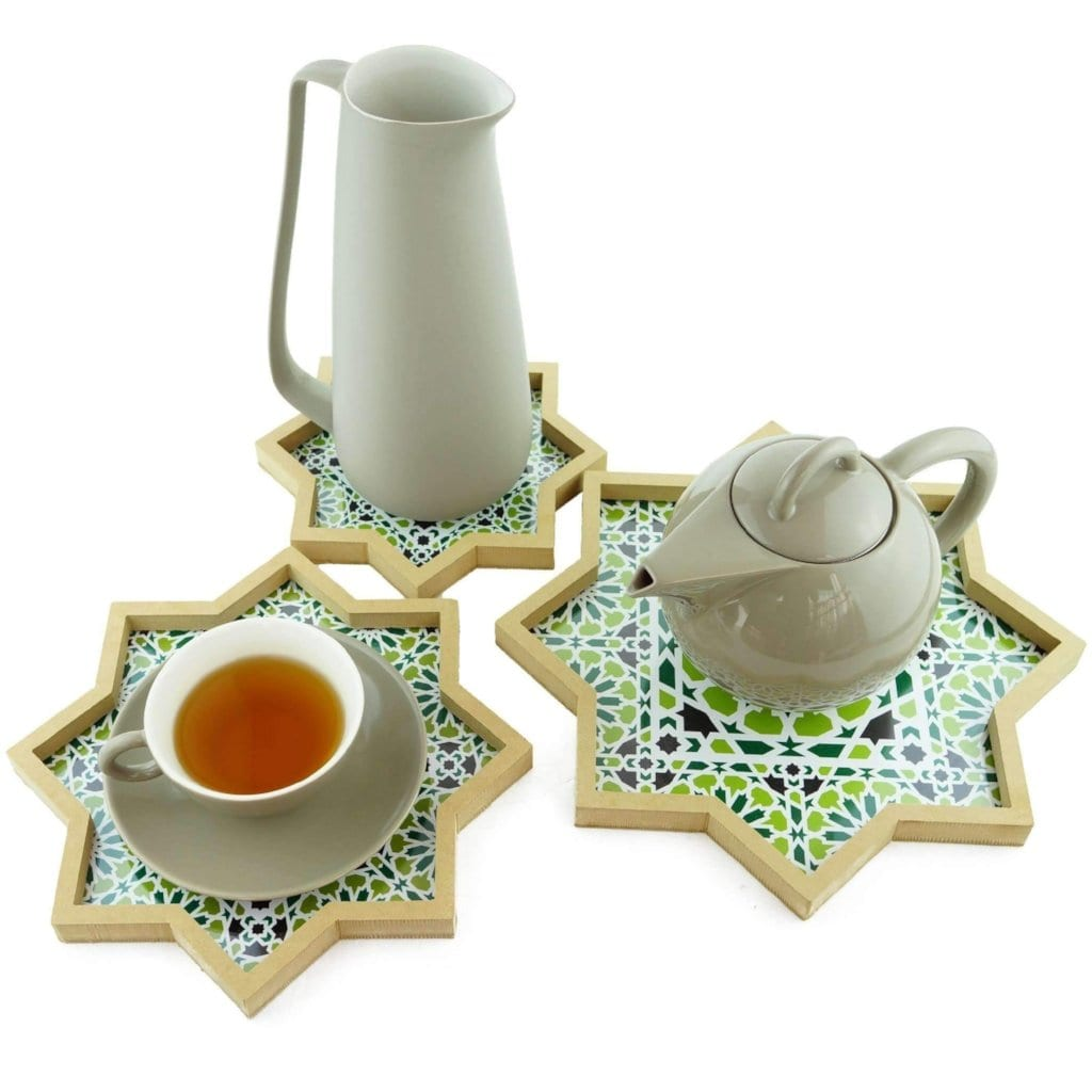 Nested Set of 3 Trays with Moroccan Zellige