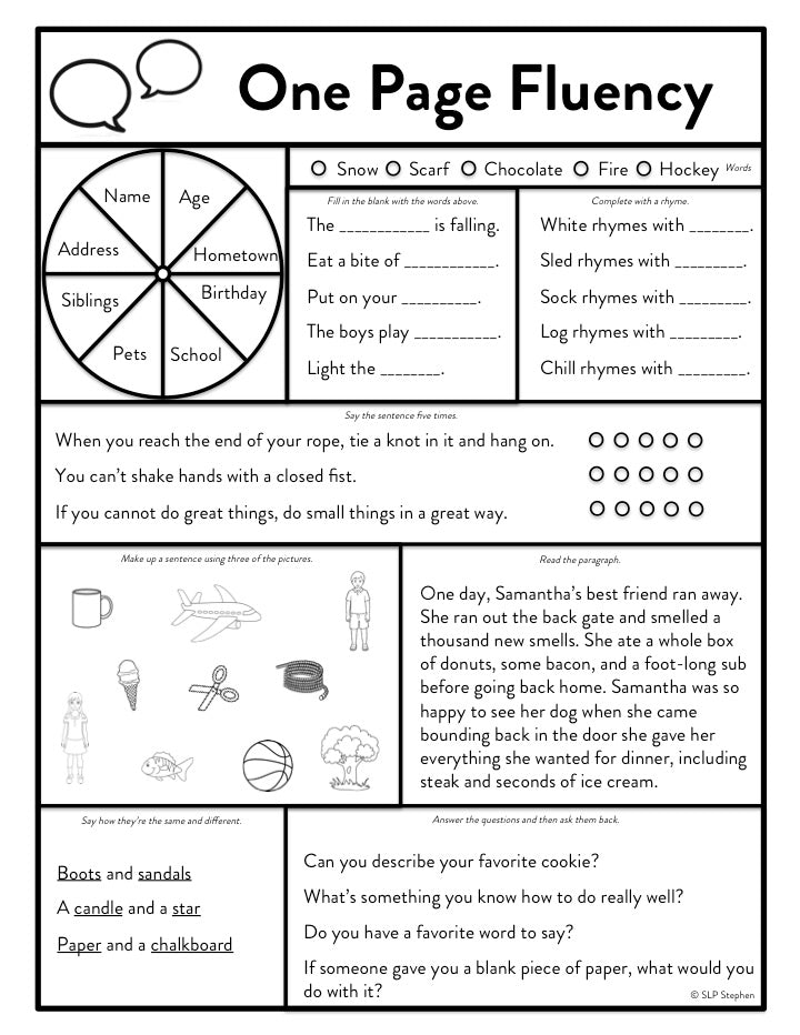One Page Fluency Therapy Sheets