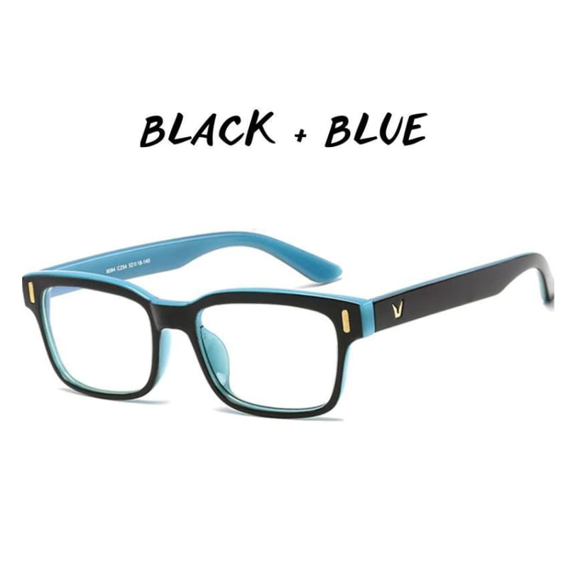 Gamma Rays - Crystal Clear Gaming Glasses With 100% Uv Protection - Black + Blue