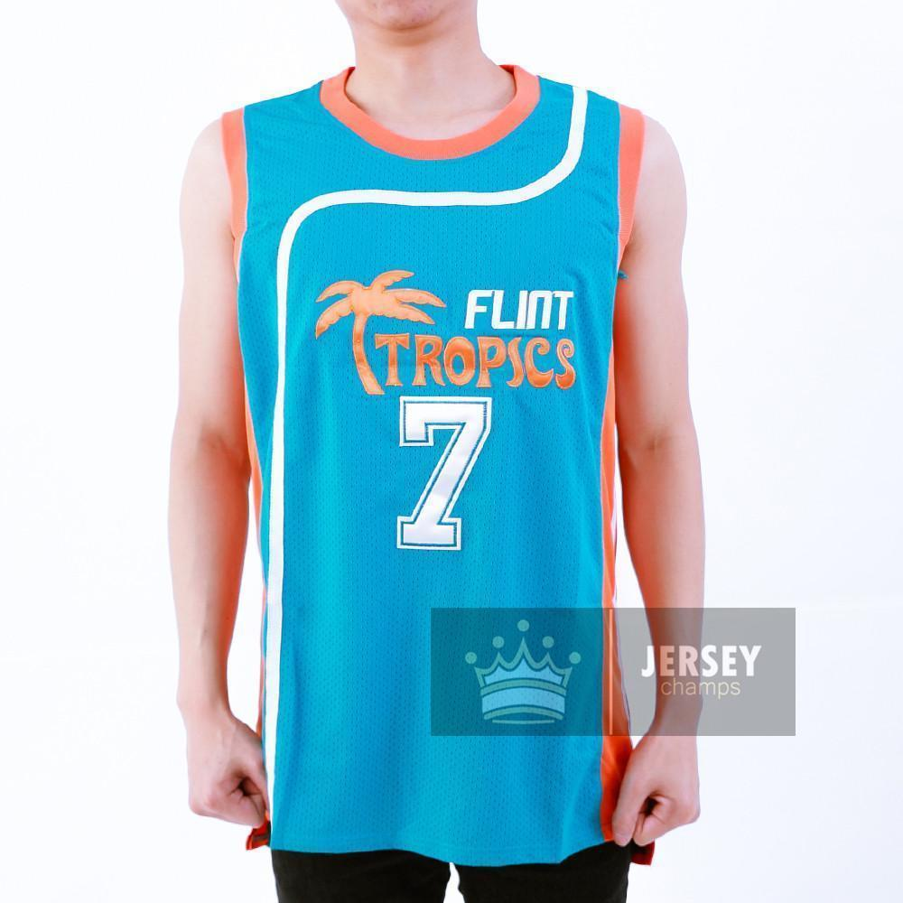 Stitched Coffee Black Flint Tropics Basketball Jersey Green/White #7 Stitched - Jersey Champs - Custom Basketball, Baseball, Football & Hockey Jerseys