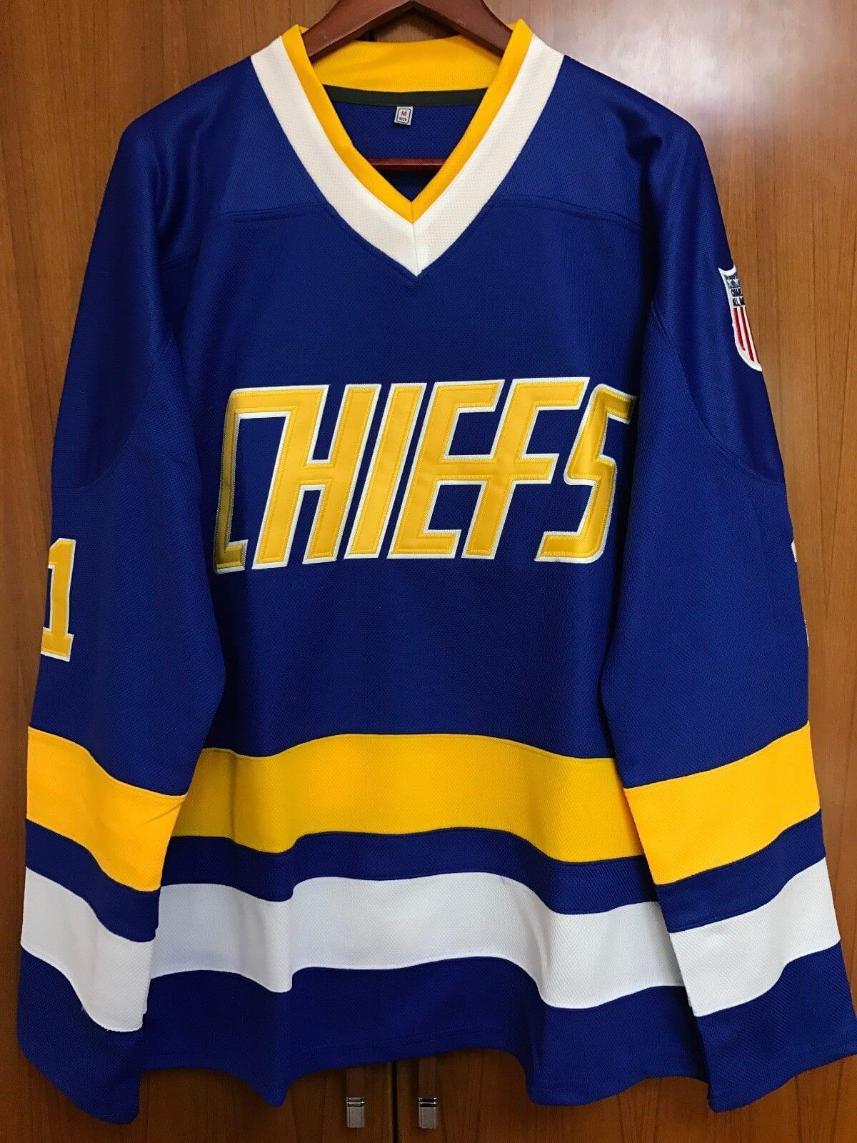 Charlestown Chiefs Leimeux Ice Hockey Jersey 1 Blue - Jersey Champs