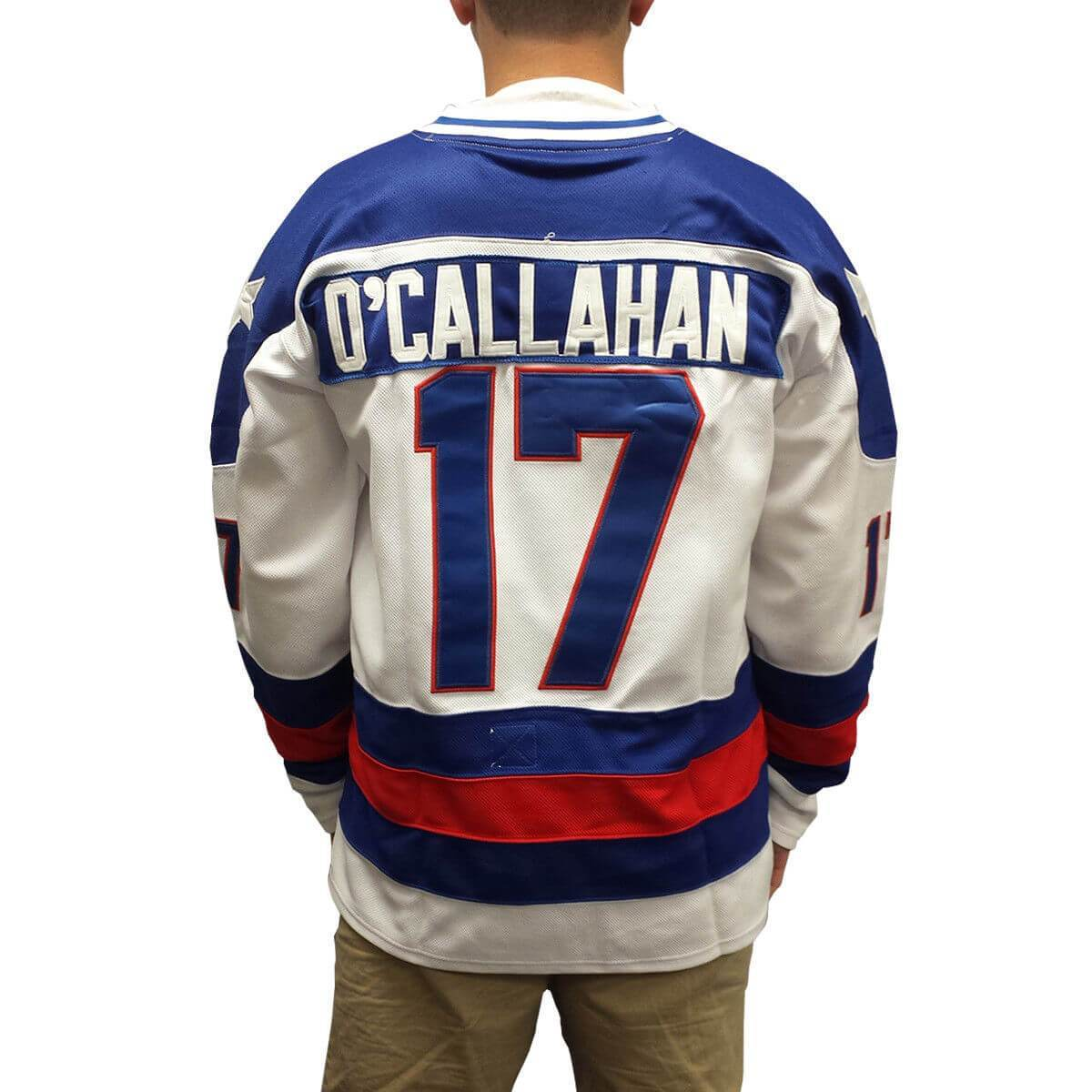 1980 Miracle On Ice Jack O'Callahan 17 USA Hockey Jersey White Blue - Jersey Champs white blue_gallery