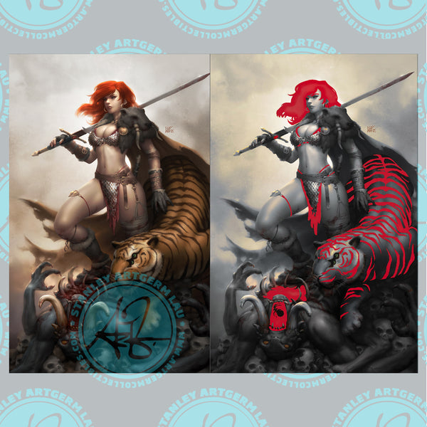 Red Sonja: The Price of Blood #2 Art By Kunkka Exclusive PUREart & PUREart Foil Variant Set