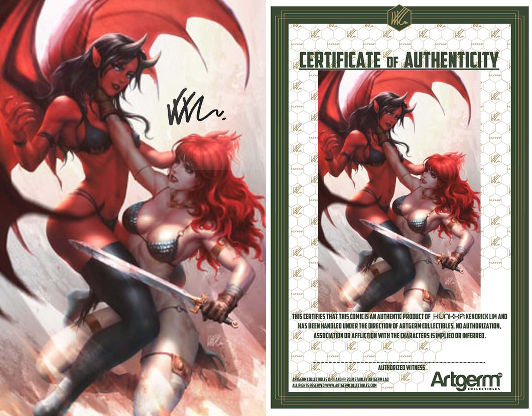 Signed with Metal COA Red Sonja: Age of Chaos #3 Kunkka Virgin Cover (3/18/20 Release)