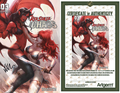 Signed with Metal COA Red Sonja: Age of Chaos #3 Kunkka Trade Dress Cover (3/18/20 Release)