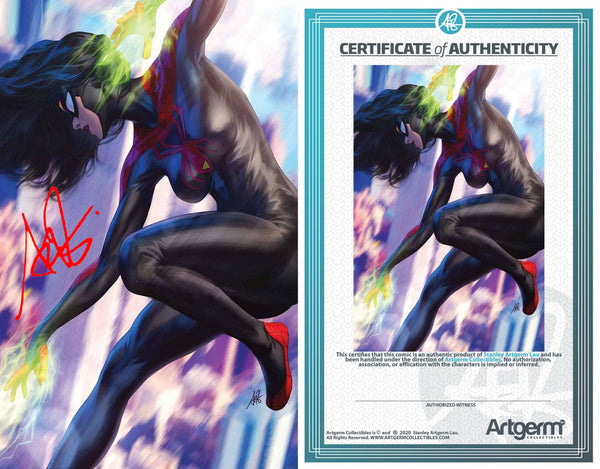 Signed with Metal COA Spider-Woman #5 1:500 Artgerm Virgin Variant