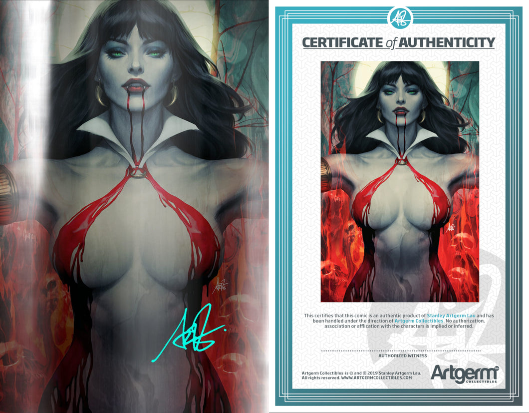 SIgned with Metal COA Vampirella #2 FOIL Virgin Artgerm Colletibles Exclusive (PRE-ORDER - 8/21/2019 release date)
