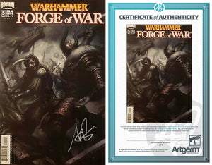 Signed with Metal COA Warhammer: Forge of War #5 Artgerm Variant