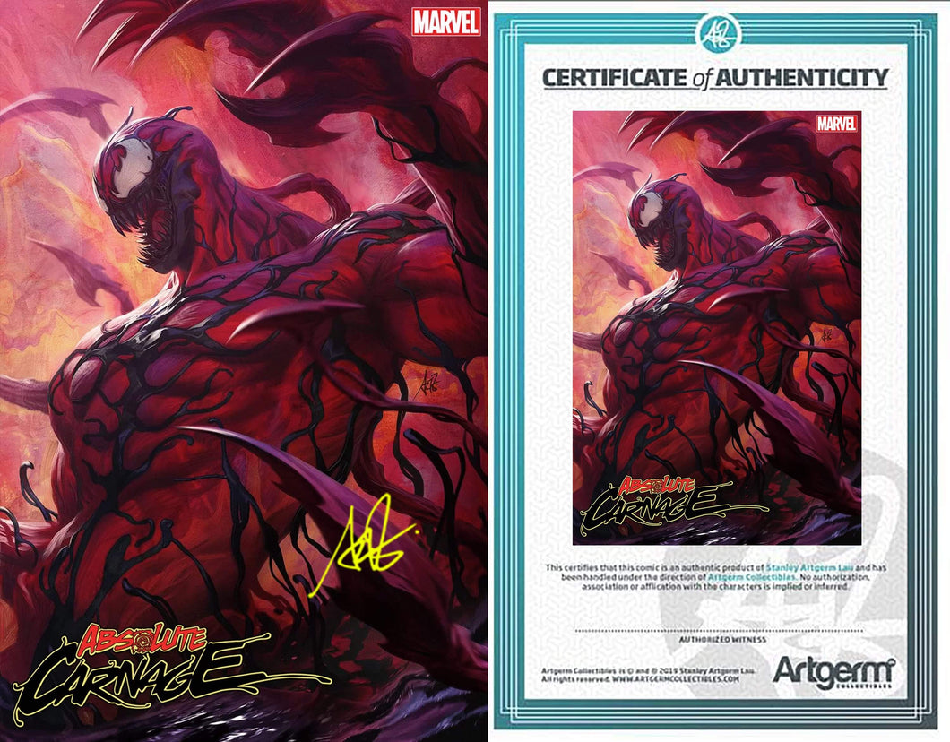 Signed with Metal COA Absolute Carnage #1 Artgerm Variant (PRE-ORDER - 8/7/2019 release date)