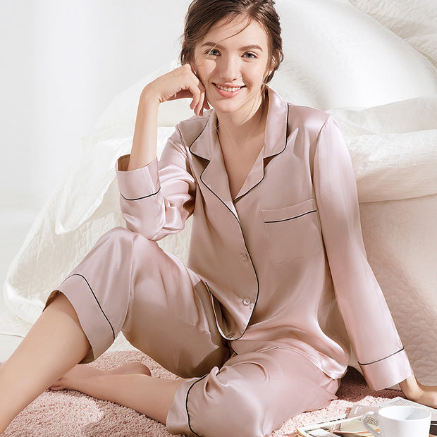 Women's Classic Silk Pajamas Set In Resilience-Two Colors