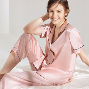 Women's Chic Silk Pajamas Set Navy Blue