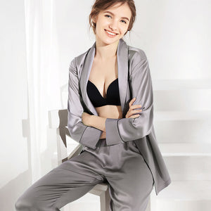 Women's Elegant Silk Pajamas Set GRAY