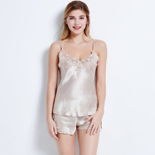 19 Momme Women's Lacey Silk Camisole Set
