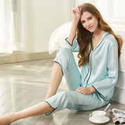 19 Momme Women's Elegant Silk Pajamas Set Blue