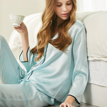 Women's Elegant Silk Pajamas Set Blue