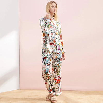 19 Momme Flower Printed White Long Silk Pajamas Set