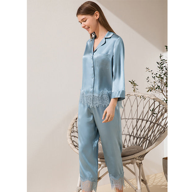 19 Momme 2020 Classic Lace Silk Pajamas