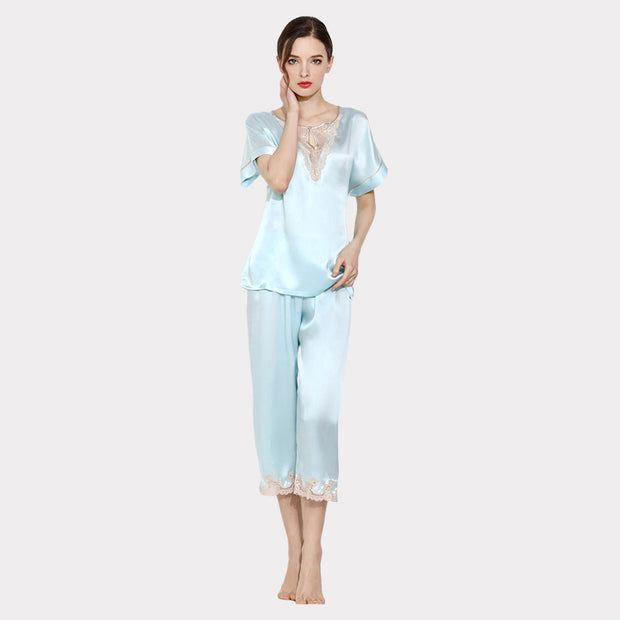 19 Momme Women's Lacey Sky Blue Silk Pajamas Set