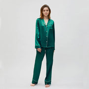 Women's Classic Silk Pajamas Set In Resilience | Multi-Colors Selected