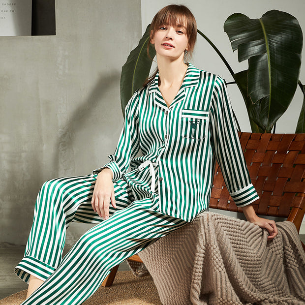 19 Momme Stripe Printed Silk Pajamas