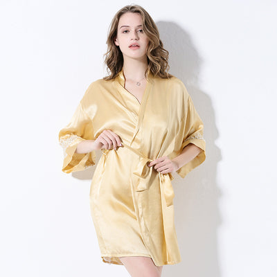 22 Momme High Quality Yellow Silk Robe | Two Pieces Set
