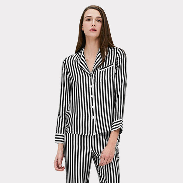 22 Momme Women's Classic Silk Pajamas White and Black