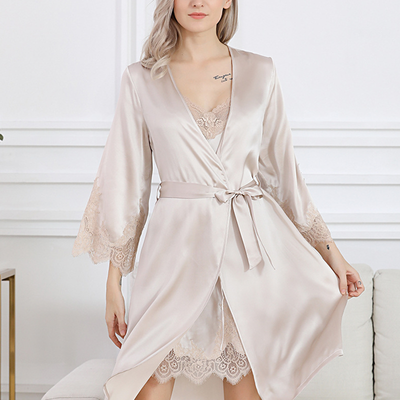 22 Momme Silk Robe Suit With Suspenders