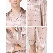 19 Momme Letter Printed Long Silk Pajamas Set | Two Colors Selected