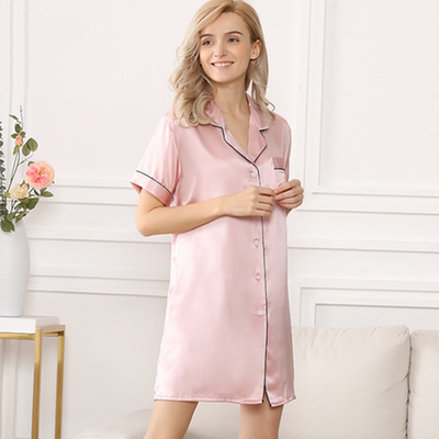 19 Momme Short-sleeved Shirt Silk Pajamas
