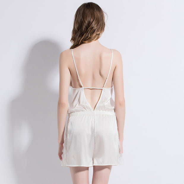 19 Momme White Silk One-Piece Suit