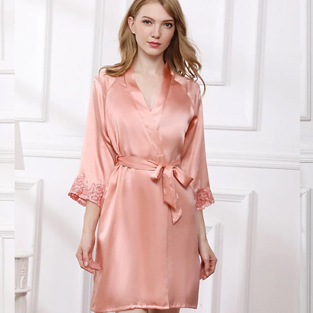 22 Momme High Quality Women's Elegant Silk Robe Set Two Pieces
